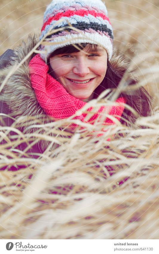 #AK Winter wind Art Esthetic Woman Cap Cold Winter walk Scarf Fashion Model Style Coat Winter coat Field Discover Grass Grassland Common Reed Girl Girlish