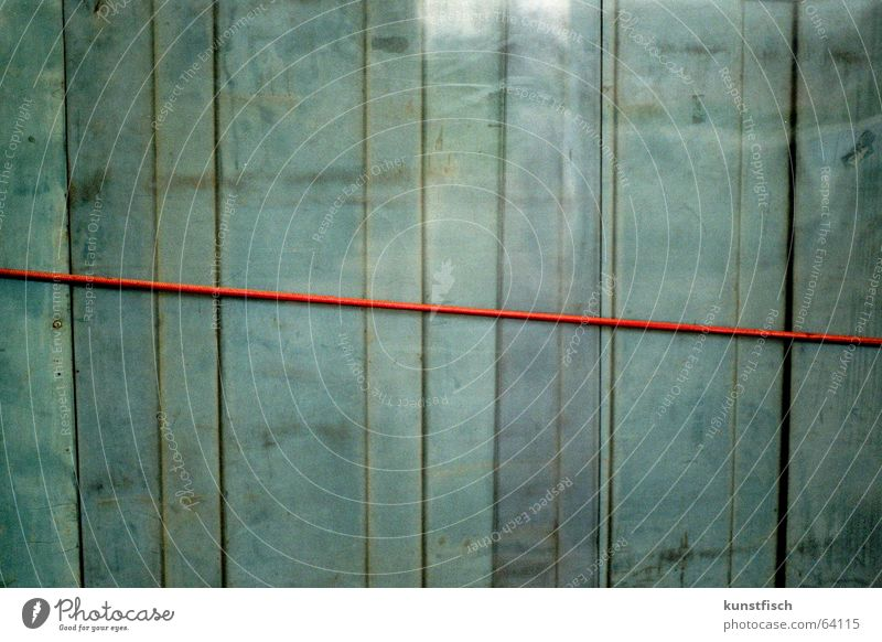 The red thread... Analog Wall (building) Wood Vertical Reflection Blue tone Fastening Wood strip Turquoise Background picture Graphic Symmetry Geometry