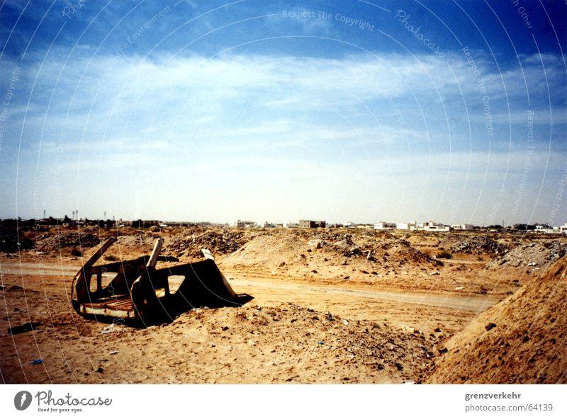 Car in the desert sand Colour photo Exterior shot Deserted Sand Rust Poverty Scrap metal Nouakchott Africa Mauretania Sahara Garbage dump Waste management