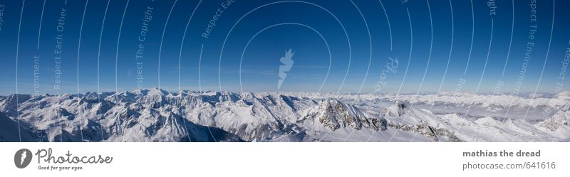 at the very top Environment Nature Landscape Sky Horizon Winter Beautiful weather Snow Alps Mountain Peak Glacier Esthetic Exceptional Infinity Cold Enthusiasm