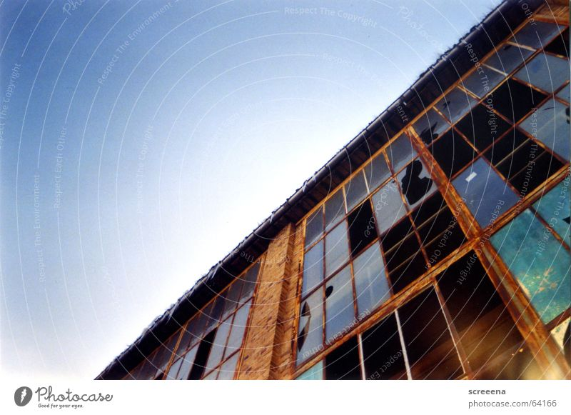 Sky Blue Red House (Residential Structure) Clouds Window Orange Glass Crazy Industrial Photography Broken Brick Window pane Destruction