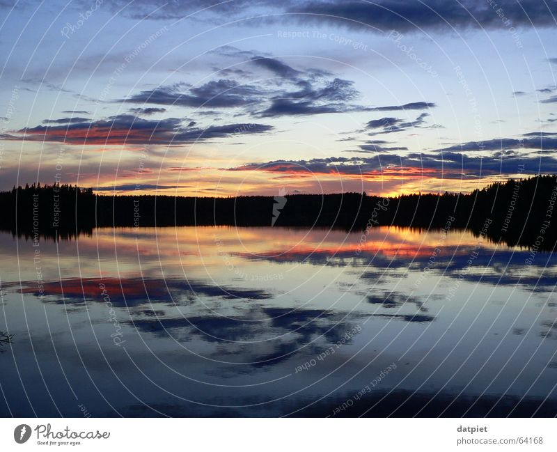 between the horizon Clouds Sunset Lake Night Calm Horizon Loneliness Reflection Sky Evening Water Sweden Weather ramsebo Summer solstice