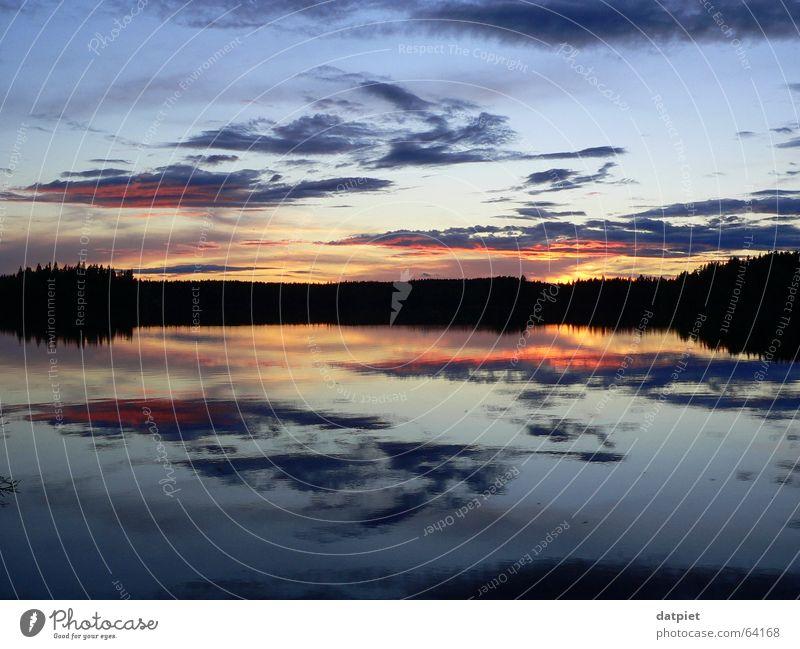 Water Sky Calm Clouds Loneliness Lake Weather Horizon Sweden Scandinavia Summer solstice