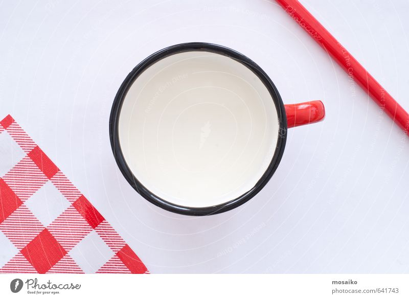 cup of milk Child White Red Black Infancy Design Nutrition Table Simple Clean Kitchen Serene Breakfast Tradition Top Checkered