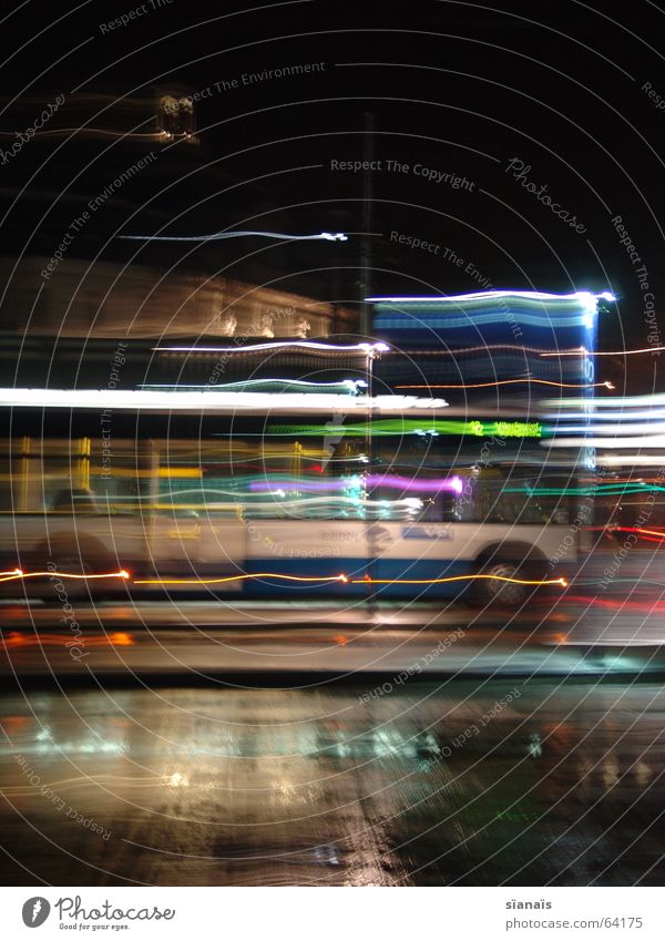 Bus in Lucerne Long exposure Short Time Light Break Stop Hold Transport Night Dark Lamp Acceleration Motion blur Puddle Driving Town Air Breeze Switzerland Open