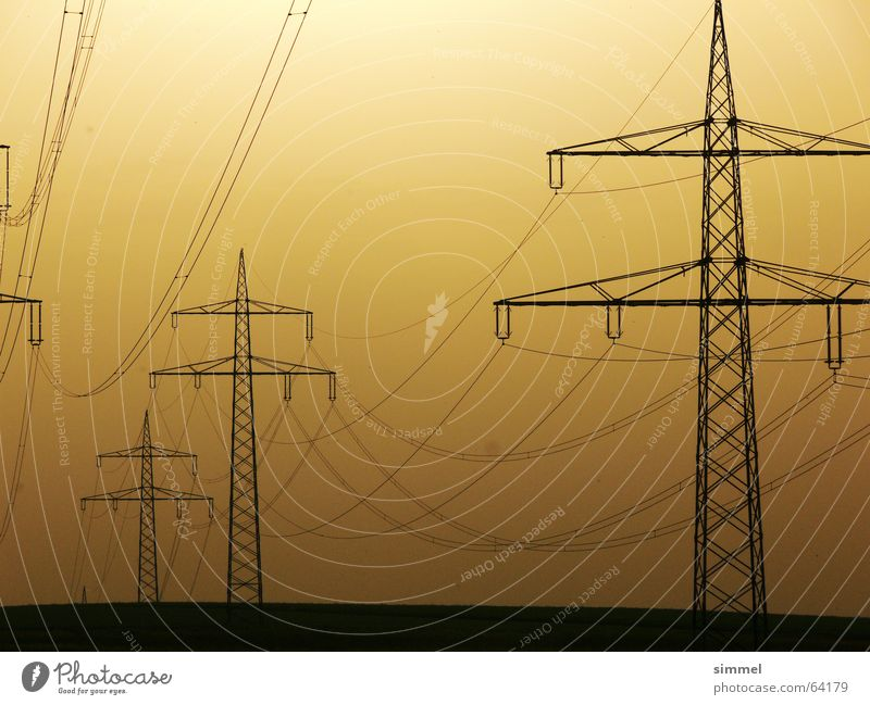 Yellow Energy industry Electricity Industrial Photography Cable Electricity pylon Transmission lines