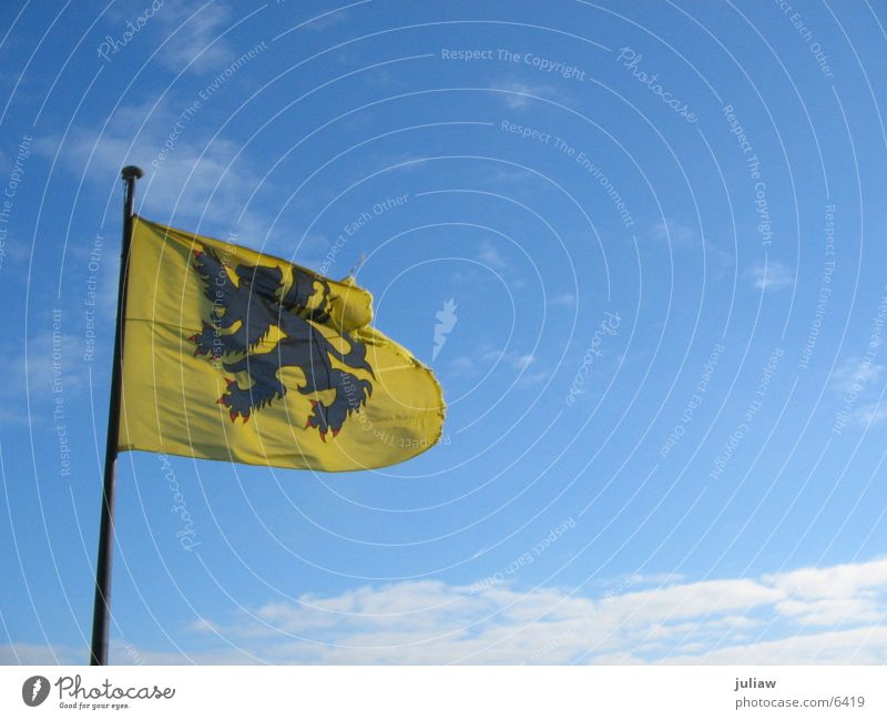 The Flemish Lion Flag Flanders Ghent Clouds Coat of arms Things Wind Sky