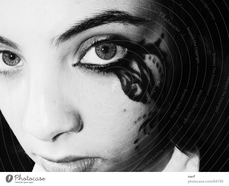 butterfly effect Make-up Girl face close-upo eyes Black & white photo