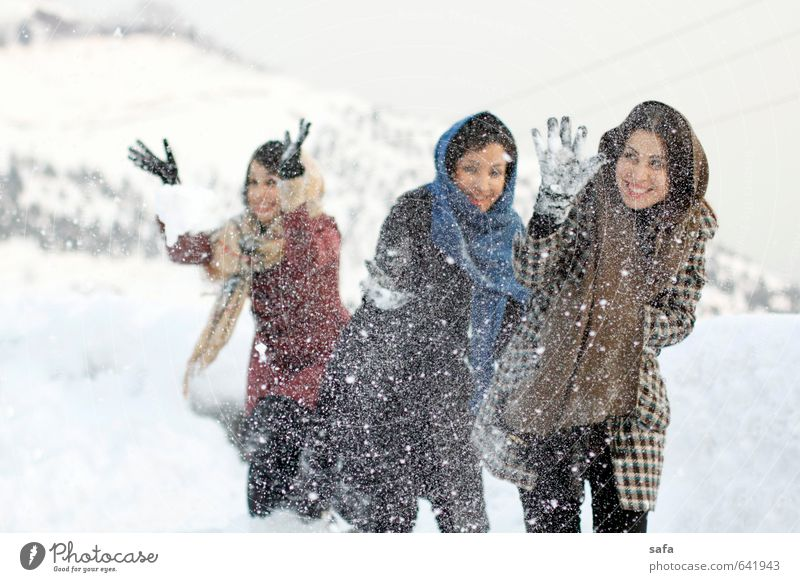 Jamshidiyeh Human being Youth (Young adults) White Young woman Joy Winter Adults Mountain Movement Feminine Snow Playing Friendship Park Body Happiness
