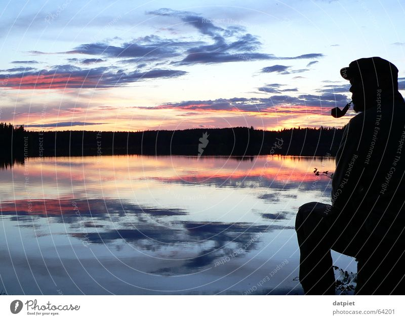 Swedish palette Lake Clouds Sunset Night Calm Horizon Loneliness Reflection Think Man Summer solstice Human being ramsebo Sky Evening Water Sweden Weather