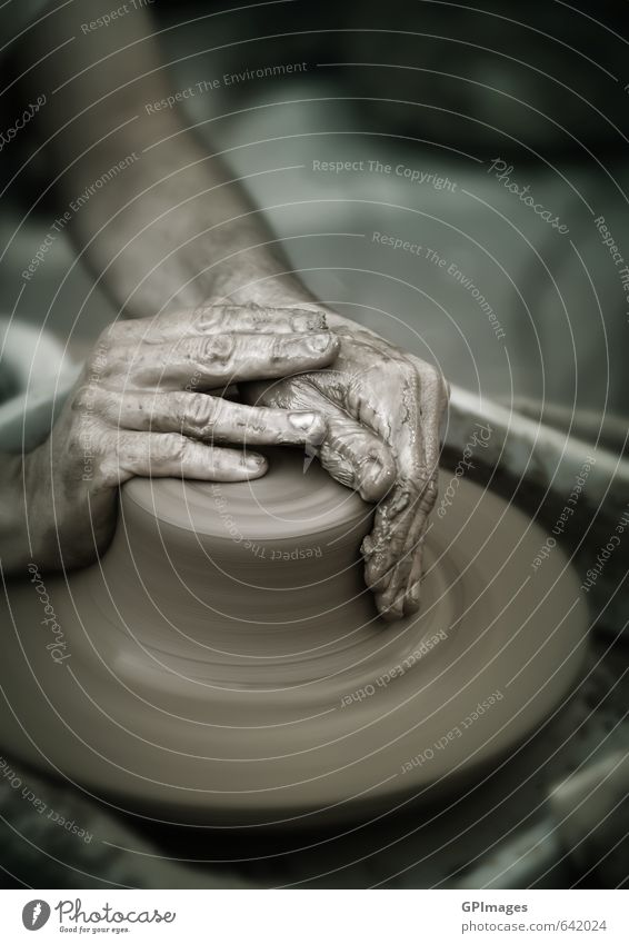 Hands working on pottery wheel Human being Man Adults Brown Art School Work and employment Leisure and hobbies Dirty Wet Fingers Creativity Retro Culture Make
