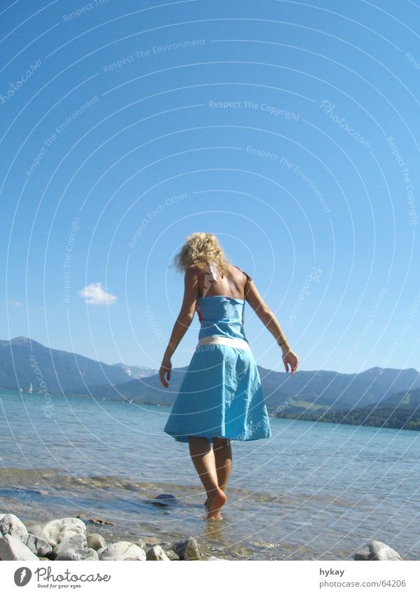 Jets_Legs Summer Dress Pebble Blonde Woman Vacation & Travel Relaxation Harmonious Clouds Leisure and hobbies Barefoot Lake Vertical Blue wade Sky Mountain Alps