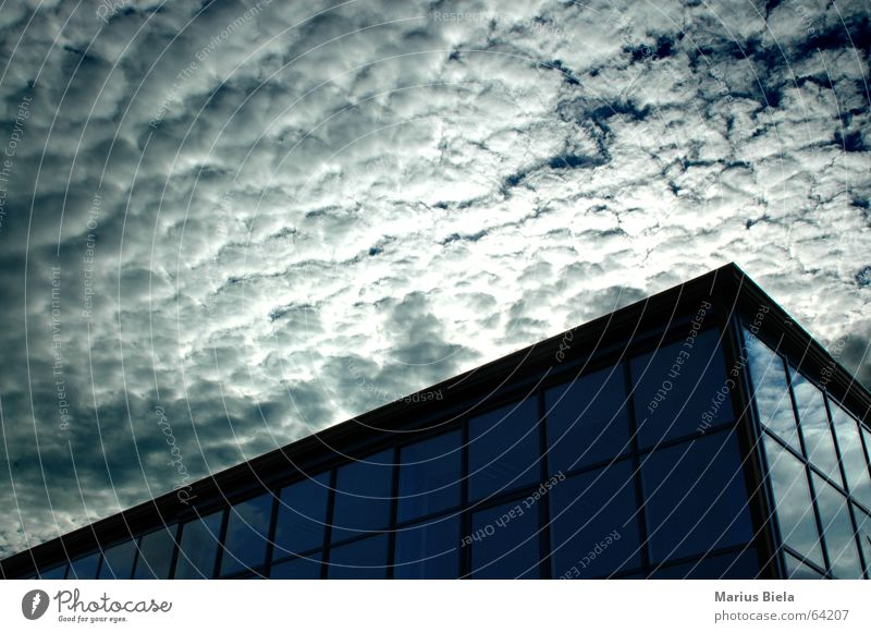 cloud cut Clouds Building High-rise Sky Reflection Mirror Window UFO Dark mars attacks armageddon nikonic d70