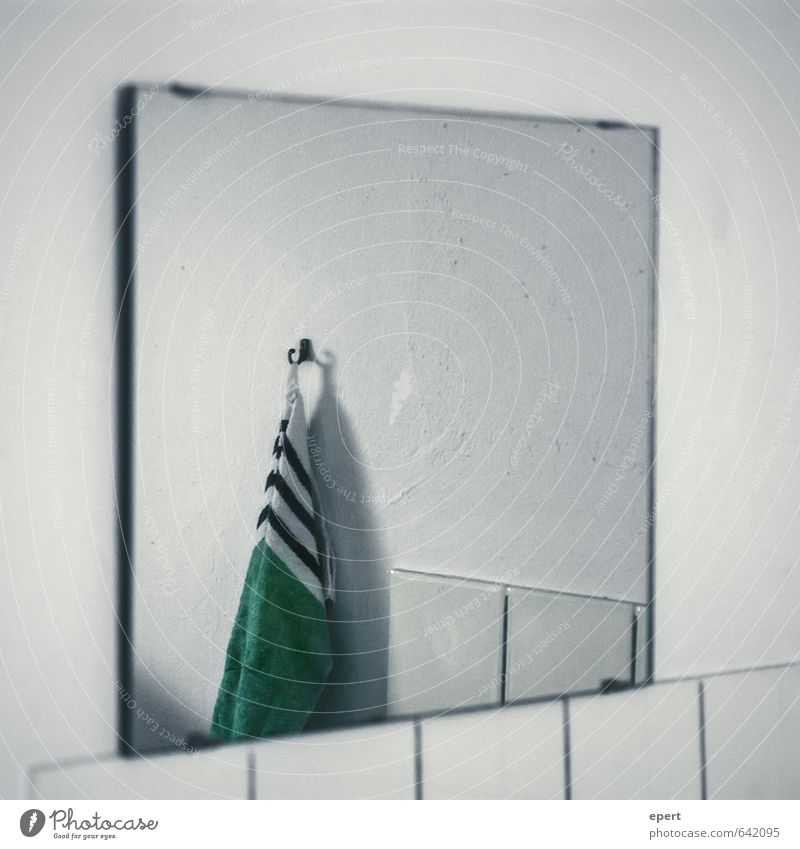 Loneliness Cold Wall (building) Wall (barrier) Living or residing Perspective Simple Clean Culture Bathroom Tile Mirror Hang Stagnating Towel Checkmark