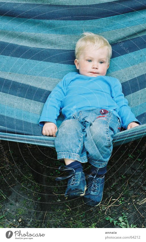 Child Blue Life Relaxation Boy (child) Dream Blonde Small Sleep Jeans Stripe Fatigue Candy Easygoing Dreamily Hammock