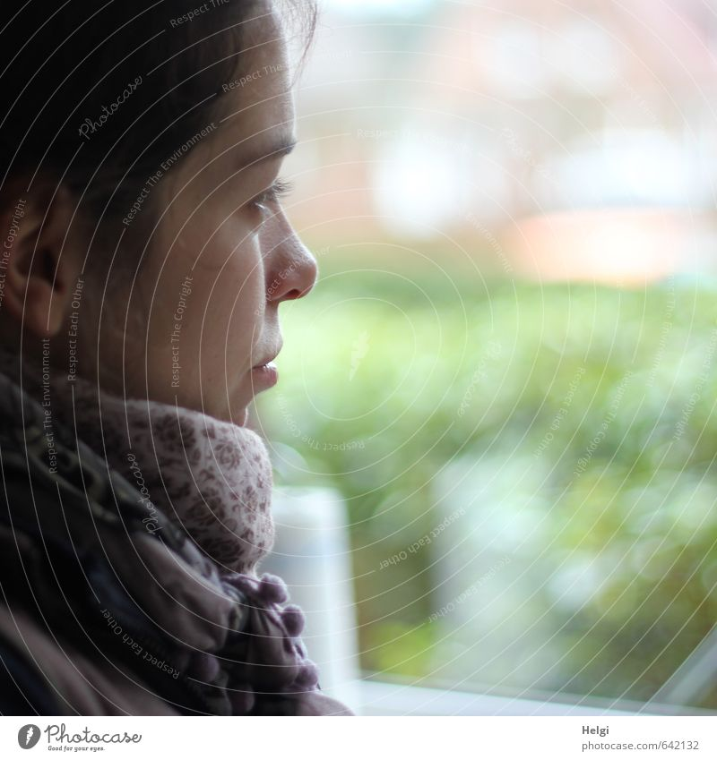 Face of a thoughtful young woman in profile Human being Feminine Young woman Youth (Young adults) Adults 1 18 - 30 years Scarf Looking Dream Wait Esthetic