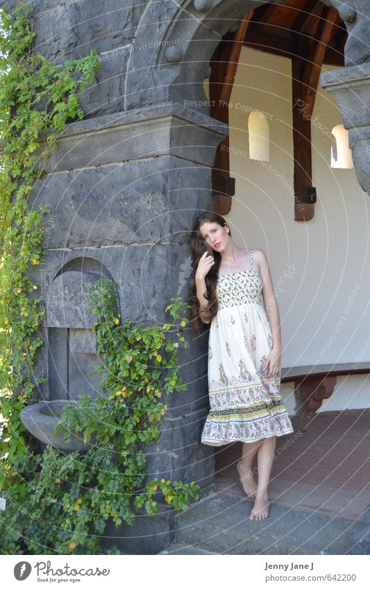 young woman in summer Human being Feminine Young woman Youth (Young adults) Adults 1 18 - 30 years Beautiful weather Dress Brunette Long-haired Part Happy