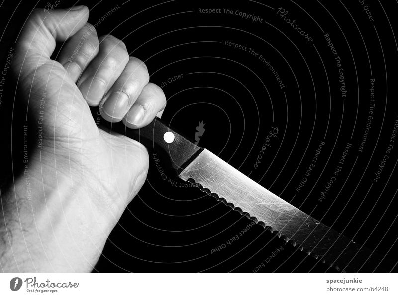 the knife Dark Dangerous Panic Creepy Horror film Cut Pierce Attack Hand Black Knives bread knife Fear Threat Black & white photo Blade