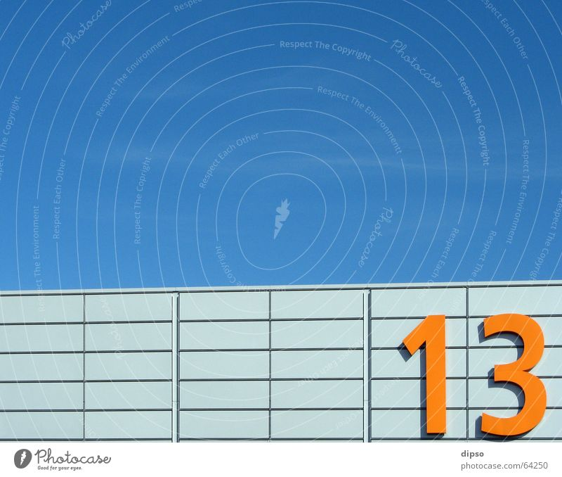 Thirteen 1. 13 Digits and numbers Friday 13 Aluminium Light Warehouse Sky Blue Orange Silver Bright Trade fair Exhibition hall