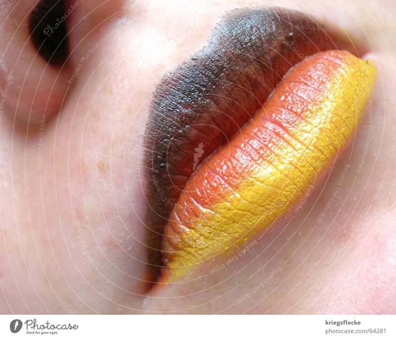 Colour Red Black Face Playing Germany Gold Skin Mouth Nose Hope Desire Lips Flag Fan World Cup