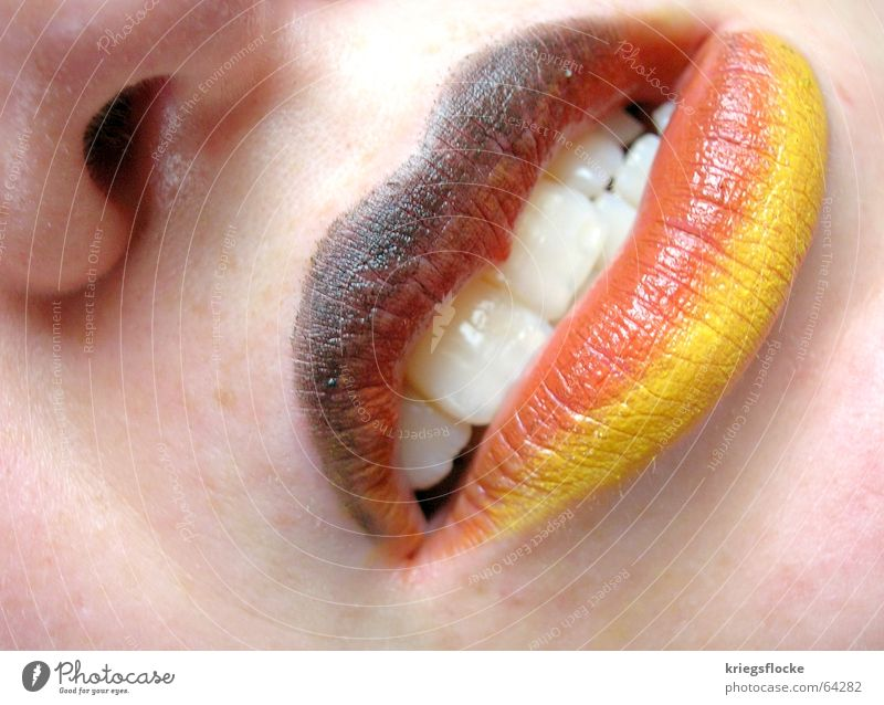 Colour Red Black Face Playing Germany Gold Skin Mouth Nose Hope Teeth Desire Lips Flag Fan