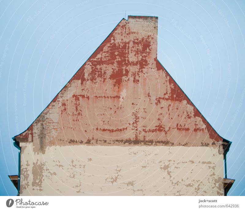 in front of the house of Santa Claus Cloudless sky Roof Chimney Fire wall Old Simple Gloomy Symmetry Weathered Ravages of time Paint traces