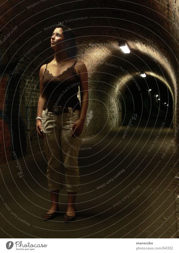 Woman Loneliness Dark Think Graffiti Empty Stand End Tunnel Watchfulness Respect Stagnating Admiration Tunnel vision