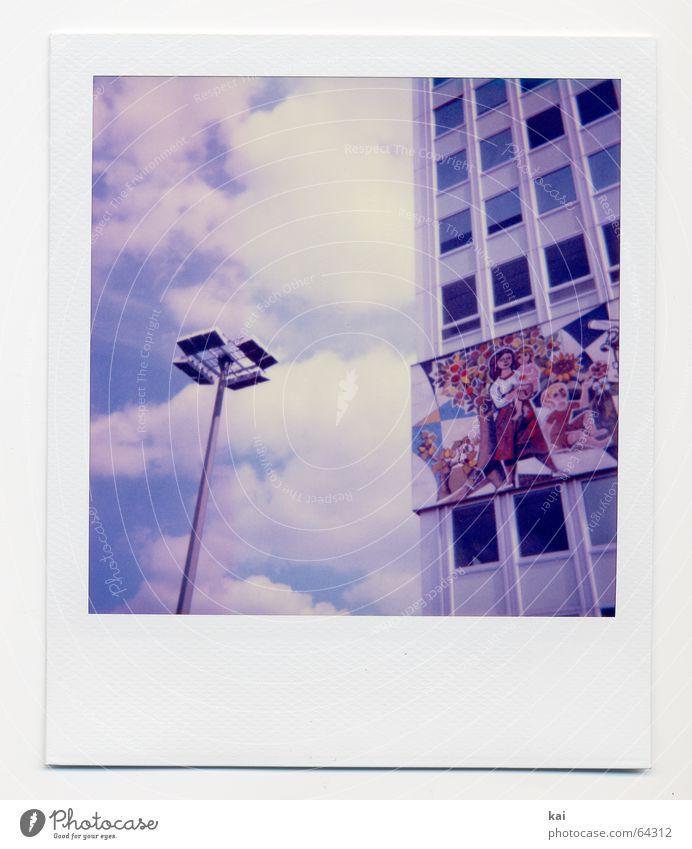 Sky Clouds House (Residential Structure) Berlin High-rise Retro Past Street lighting Lantern Capital city GDR Nostalgia Alexanderplatz Polaroid City Lighting