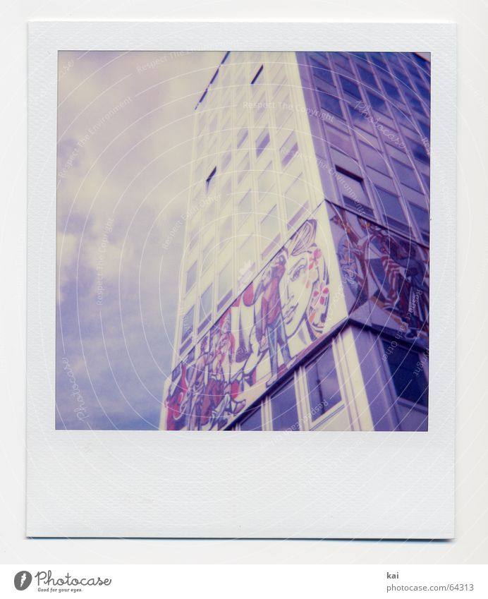 Sky Clouds House (Residential Structure) Germany High-rise Retro Historic Past Capital city Polaroid Berlin GDR Nostalgia Alexanderplatz City