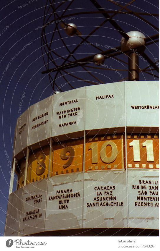 the clock is ticking... World time clock Art Clock Digits and numbers Round Alexanderplatz Exterior shot Berlin Blue Sky GDR