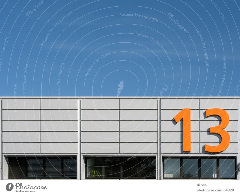 Thirteen 2. 13 Digits and numbers Window Work and employment Workplace Summer Symmetry Friday 13 Warehouse Sky Blue Orange Hall Exhibition hall Trade fair