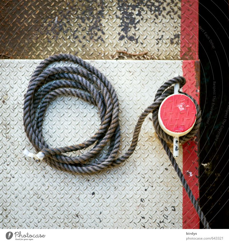 created and moored Navigation Rope Jetty Esthetic Authentic Round Red White Safety Strick rope Arrangement Colour photo Deserted Copy Space top