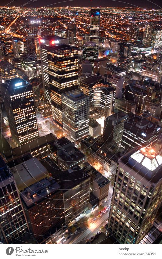 Melbourne Nightglow Town High-rise Bird's-eye view Urban canyon Australia Night shot Exterior shot rialto towers Light lights architecture Aviation flight