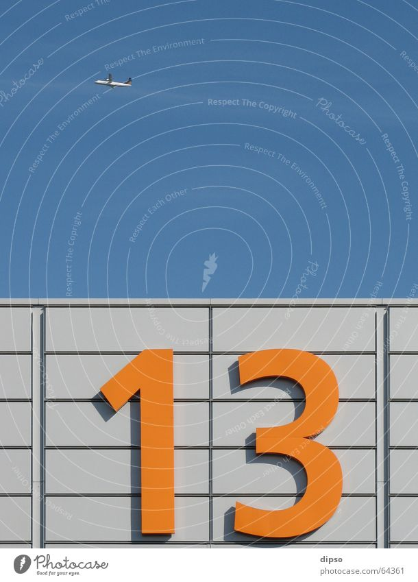 Thirteen the three. 13 Digits and numbers Friday 13 Aluminium Light Work and employment Airplane Warehouse Sky Blue Orange Silver Bright Trade fair