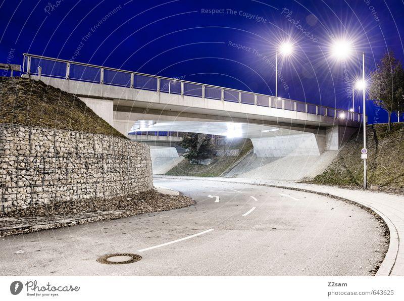 Blue City Green Loneliness Cold Street Lanes & trails Architecture Style Design Arrangement Modern Esthetic Concrete Energy Bridge