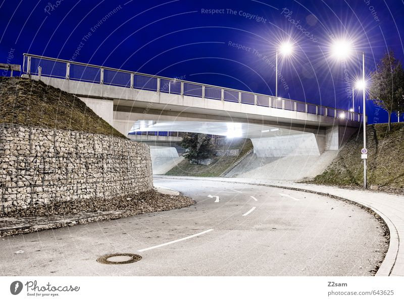 Blue hour Town Overpopulated Bridge Tunnel Manmade structures Architecture Traffic infrastructure Street Esthetic Cold Modern Clean Design Loneliness Energy