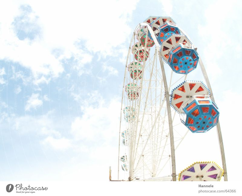 Between heaven and earth Clouds Ferris wheel Fairs & Carnivals Festival White Background picture Unclear Sky Feasts & Celebrations Joy Intersection Blur
