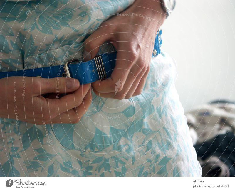 Woman Hand Blue Fingers Dress Thin Fine Belt Attract Buckle