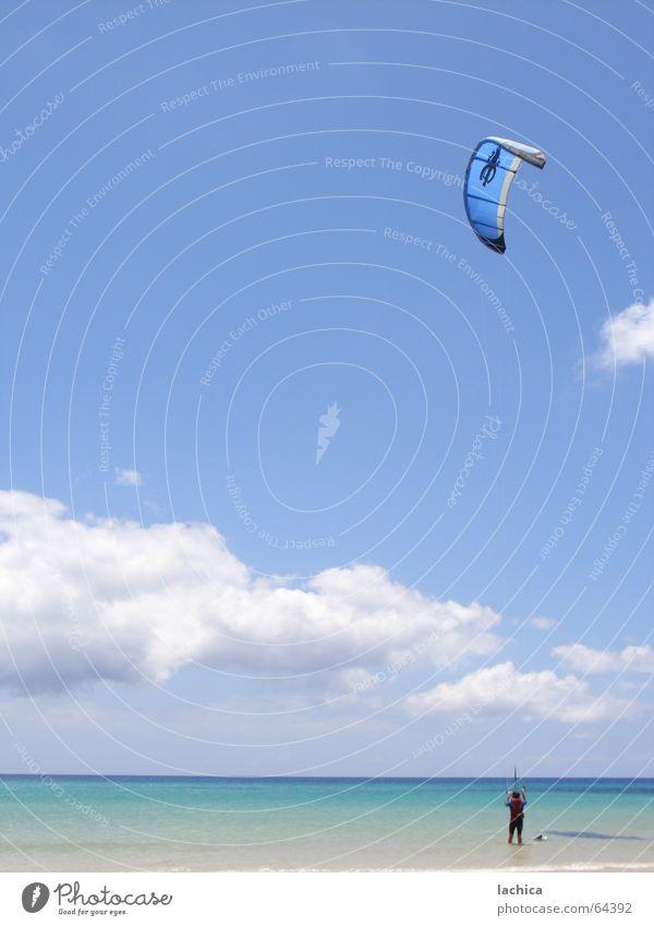 kitesurf Kiting Rip Surfing Beach Ocean Kiter Fuerteventura Aquatics Clouds Aerodynamics Bathing place Freedom Masculine Anxious Gust of wind Sunbathing Darken