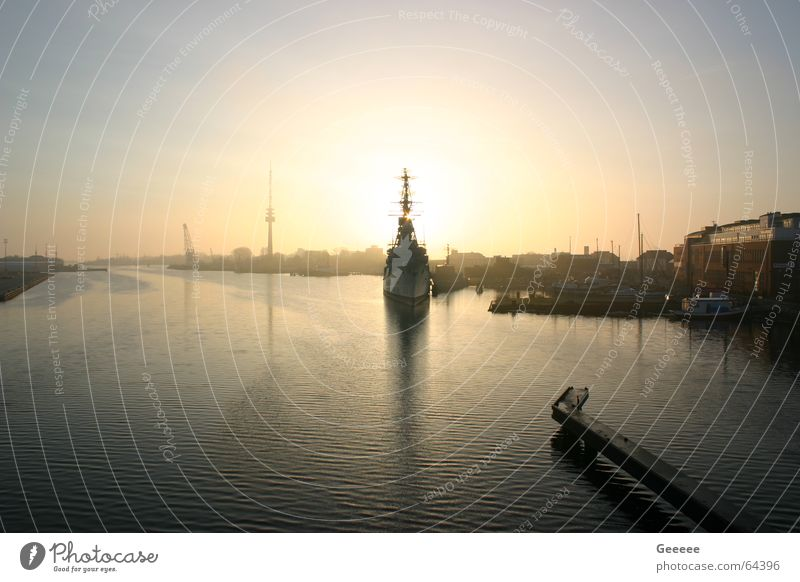 Port in Wilhelmshaven Wilhlemshaven Watercraft Destroyer Sunrise Harbour