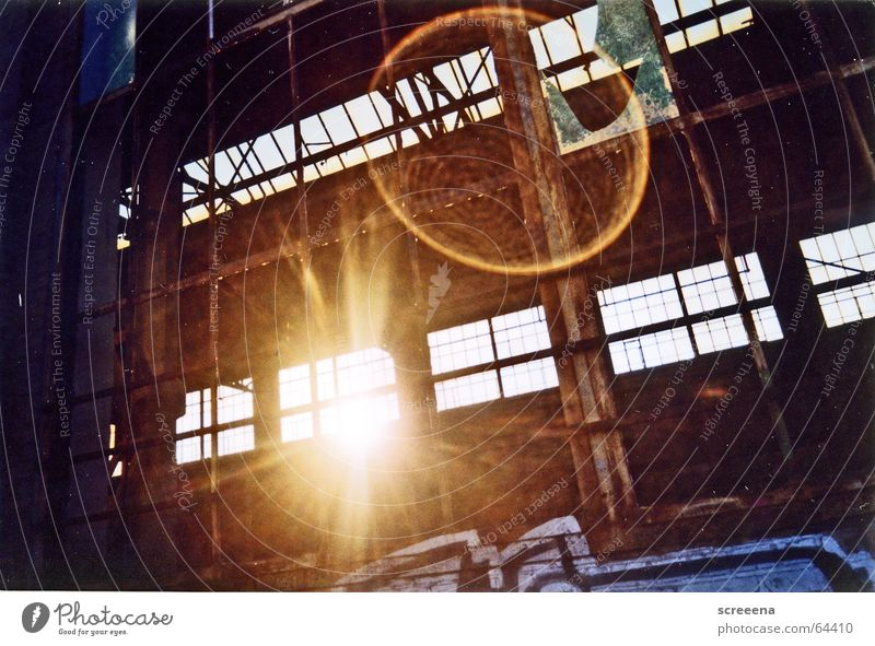These White Lights Will Bend To Make Blue House (Residential Structure) Dazzle Window Analog Broken Sunbeam Sunset Industrial Photography Contrast graffiti Old