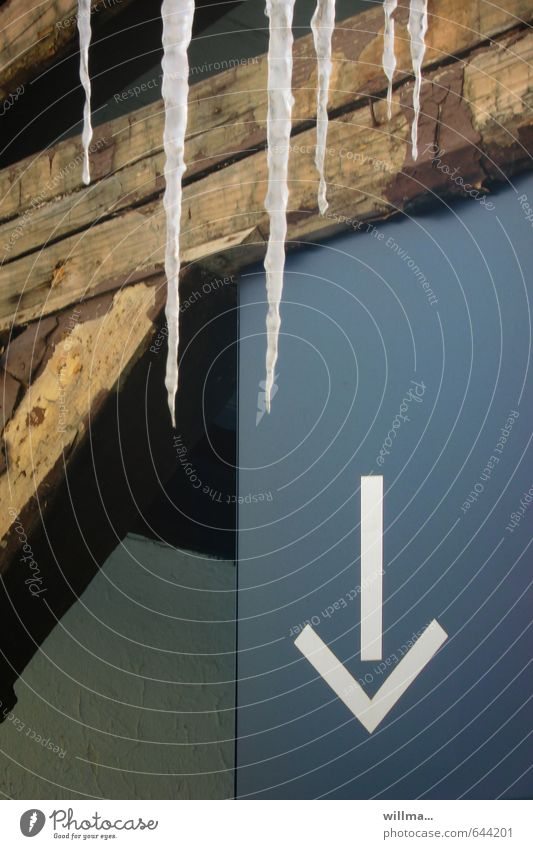 Blue Winter Cold Brown Ice Frost Sign Arrow Downward Icicle Joist Trend-setting Thaw