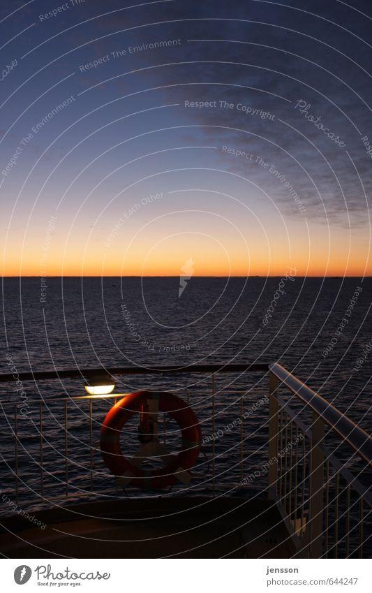 Sunrise over' Skagerak Vacation & Travel Cruise Navigation Ferry Steel Water Illuminate Cold Beautiful Blue Orange Safety Calm Longing Wanderlust Rescue