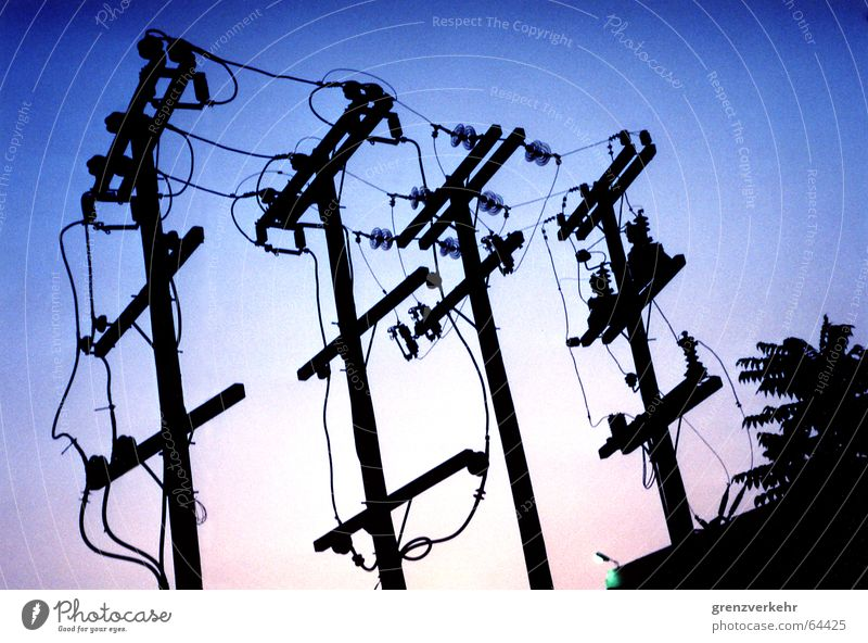 Power Energy industry Electricity Cable Electricity pylon Wire Dusk Transmission lines