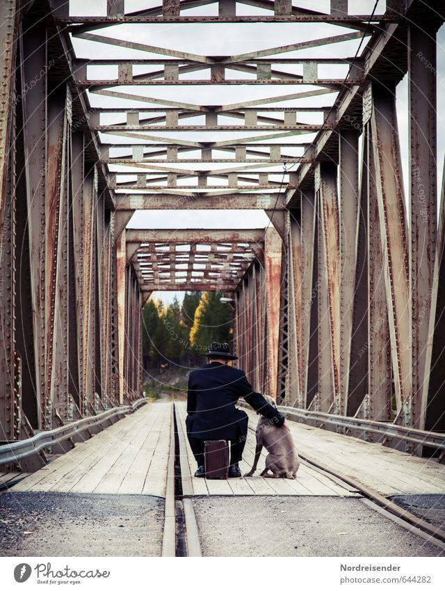 Dog Human being Vacation & Travel Man Adults Life Street Lanes & trails Architecture Freedom Moody Elegant Lifestyle Wait Bridge Adventure