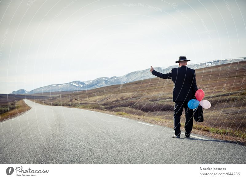 hobo Adventure Far-off places Freedom Human being Masculine Man Adults Male senior Senior citizen 1 Mountain Street Lanes & trails Suit Suitcase Hat Balloon