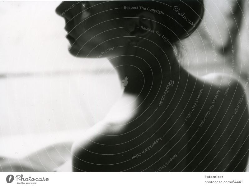beauty Beauty Photography Woman Shoulder Nape Think Grief Thought Moody Remember Expectation Silhouette Black & white photo Detail Neck ponder Sadness Looking