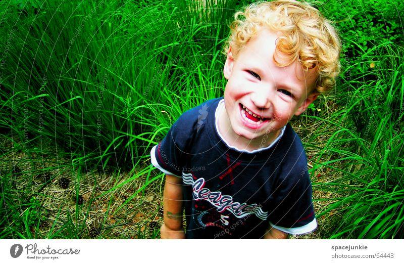 Justus Child Toddler Playground Grass Green Brash Nature Joy Boy (child) Schoolchild Wild animal Blue