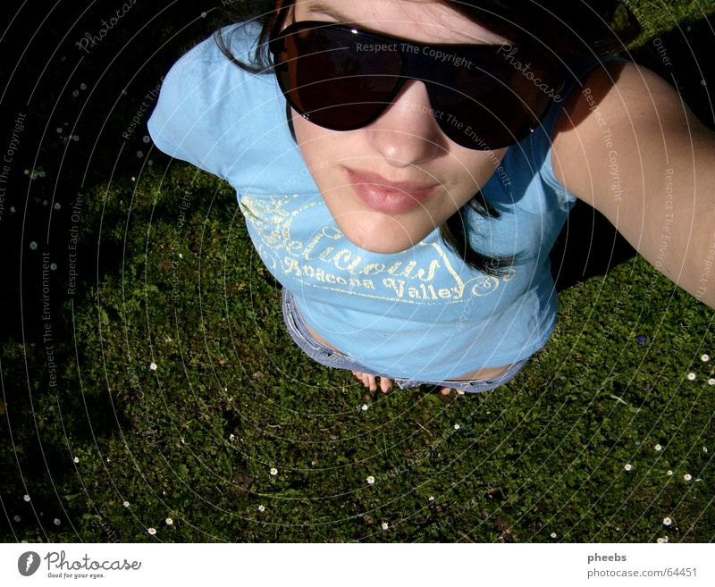 Woman Sky Face Meadow Grass Hair and hairstyles Mouth Bright Small Large Lawn Lips Upward Daisy Sunglasses Toes