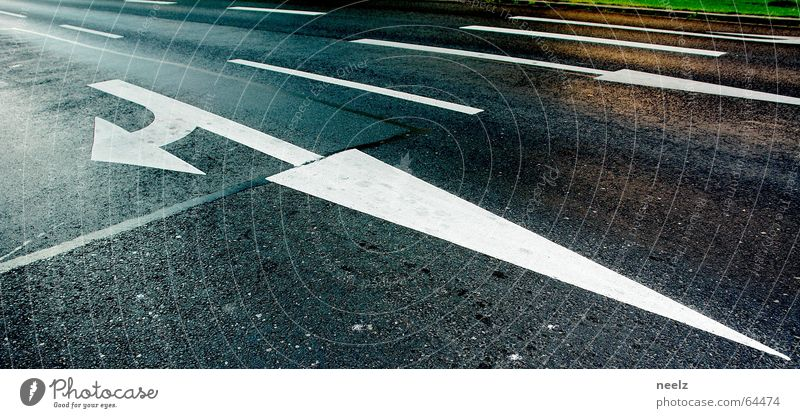 White Street Transport Asphalt Tracks Arrow Direction Find Orientation Road sign Turn off Main street